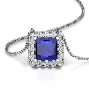 Sapphire Jewelry Halo Diamond Pendant White Gold 1